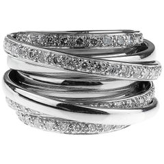 Round Brilliant Cut Diamonds Wide Band Cocktail Ring in 18 Karat White Gold