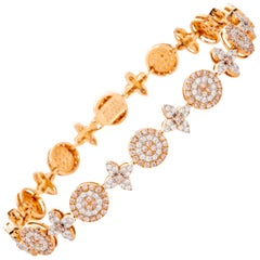 Round Brilliant Cut Pink and White Diamond 18 Karat Rose Gold Bracelet