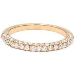 Round Brilliant Cut Three-Row Diamond 18 Karat Yellow Gold Wedding Ring