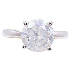 Round Brilliant Diamond 2.00 Carat Solitaire Engagement Ring 14 Karat White Gold