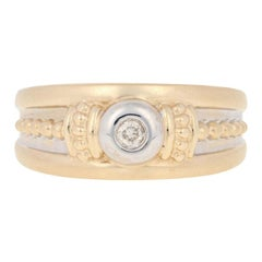 Round Brilliant Diamond-Accented Ring, 14k Gold Matte Rope Design Heart Accents