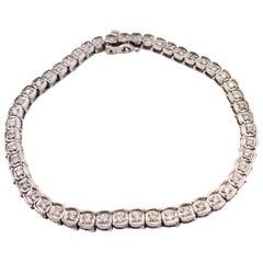 Round Brilliant Diamond Bezel Set Bracelet 1.50 Carat 14 Karat White Gold