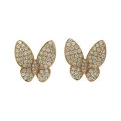 Round Brilliant Diamond Butterfly Earrings in Rose Gold