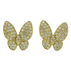 Round Brilliant Diamond Butterfly Earrings in Yellow Gold