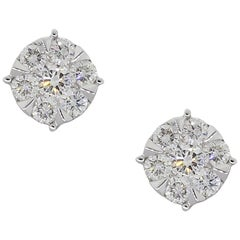 Round Brilliant Diamond Cluster Stud Earrings