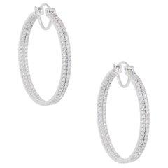 Round Brilliant Diamond Double Row Inside Out Hoop Earrings