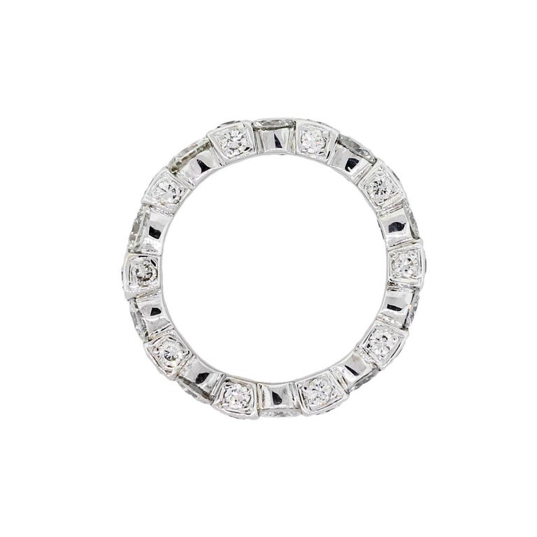 Material: 18k white gold Diamond Details: Approx. 1.75ctw of round brilliant diamonds. Ring Size: 5 Ring Measurements: 0.84″ x 0.15″ x 0.15″ Total Weight: 4.3g (2.8dwt) Additional Details: This item comes with a presentation box! SKU: R4976