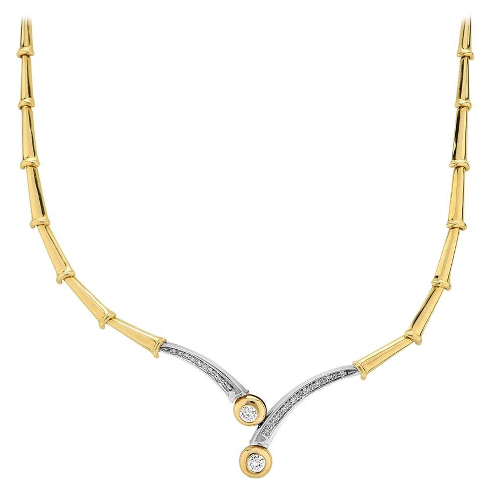 Diamond Necklace/Headpiece, in Bimetal 18K Gold Flexible Bamboo Links