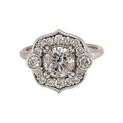 Round Brilliant Diamond Flower Ring 1.08 Carat 14 Karat White Gold