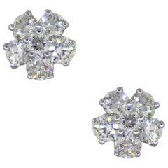 Round Brilliant Diamond Flower Shape Earrings