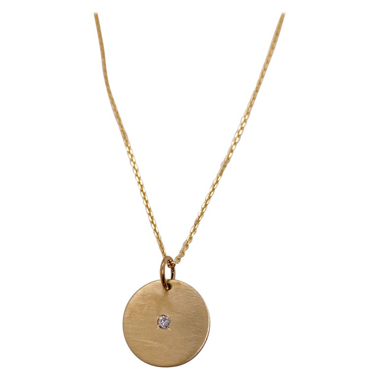 Round Brilliant Diamond & Gold Disk Pendant 14k Gold Engravable Necklace For Sale