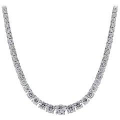 Round Brilliant Diamond Graduated Tennis Necklace