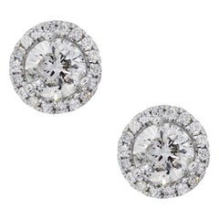 Round Brilliant Diamond Halo Stud Earrings
