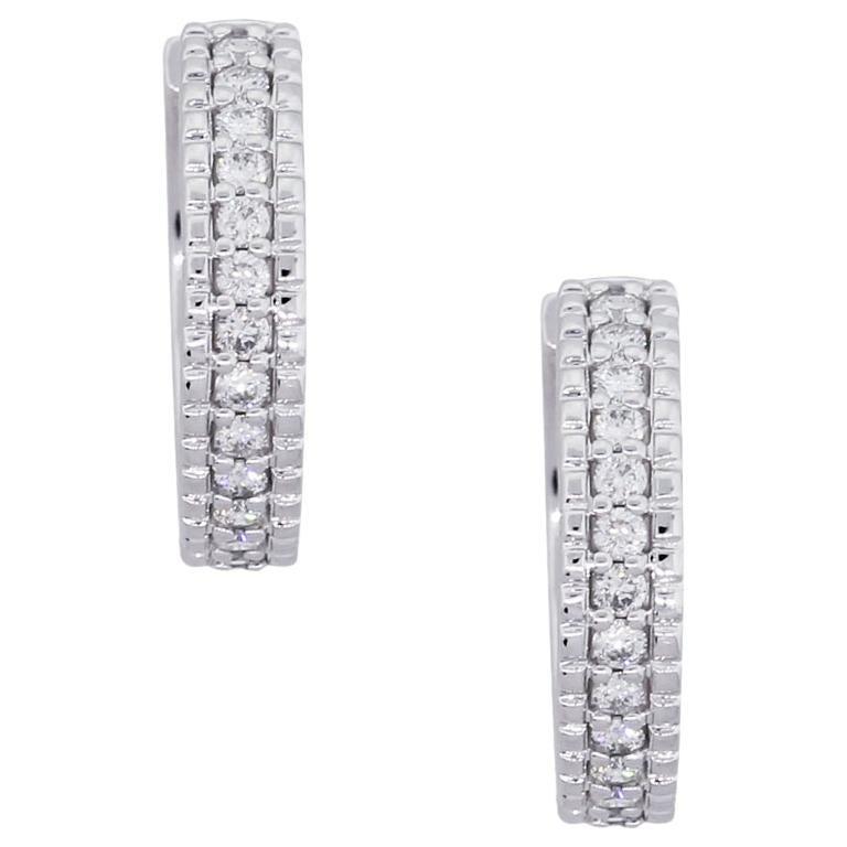 Round Brilliant Diamond Hoop Huggie Earrings