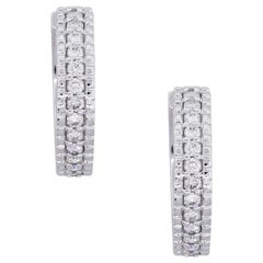 Round Brilliant Diamond Hoop Huggie Earrings