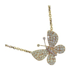 Round Brilliant Diamond in 18 Karat Rose Gold Butterfly Necklace