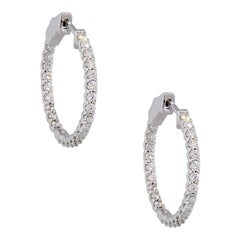 Round Brilliant Diamond In and Out Hoop Earrings