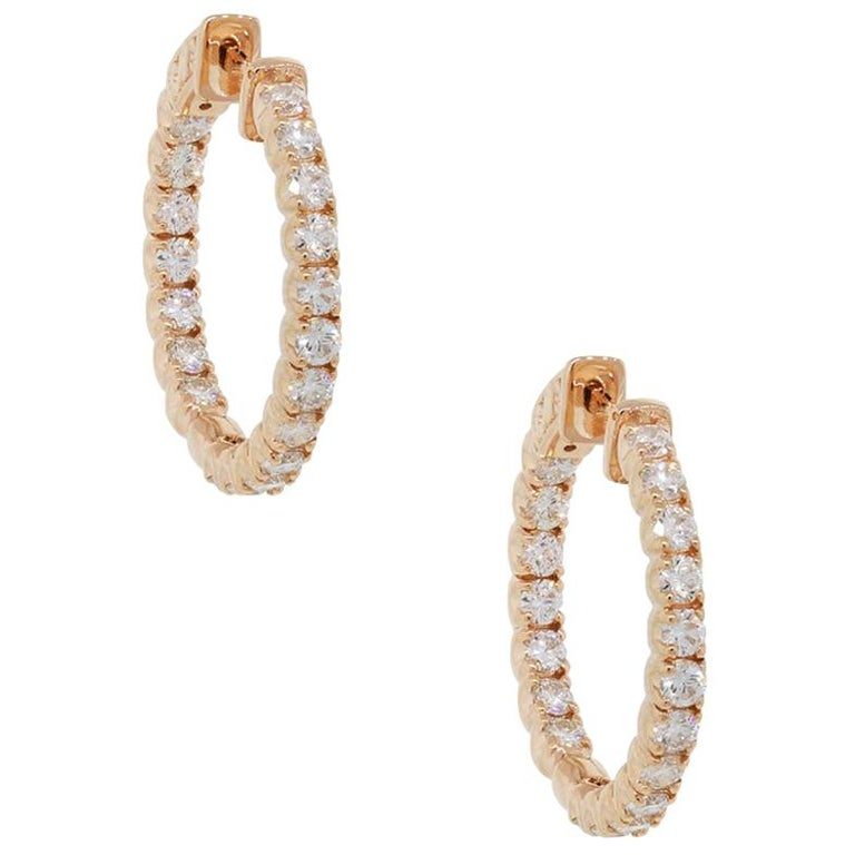 Round Brilliant Diamond Inside Out Hoop Earrings For Sale