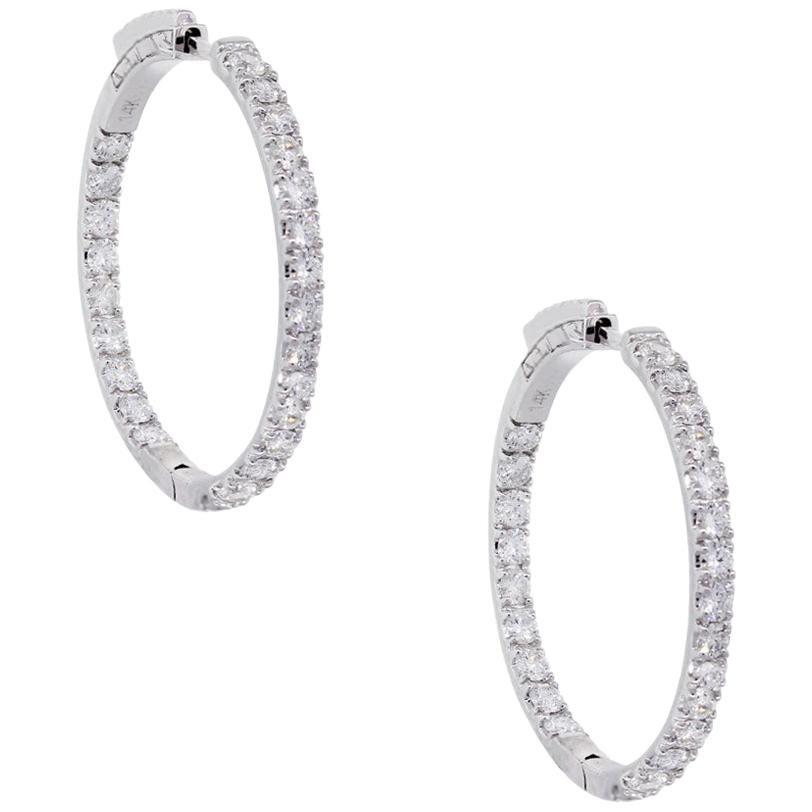 Round Brilliant Diamond Inside Out Hoop Earrings