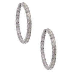 Round Brilliant Diamond Inside Out Large Hoop Earrings