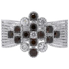 Round Brilliant Diamond Ladies Wide Bracelet