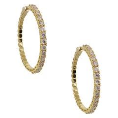 Round Brilliant Diamond Outside Hoop Earrings