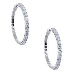 Round Brilliant Diamond Outside Hoop Earrings