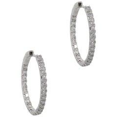 Round Brilliant Diamond Oval Hoop Earrings