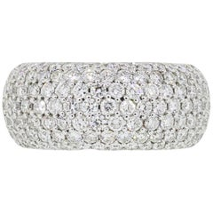 Round Brilliant Diamond Pave Wide Ring