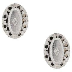 Round Brilliant Diamond Shield Shaped Cufflinks