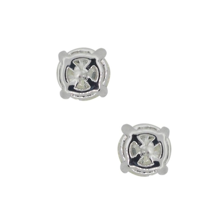 Round Cut Round Brilliant Diamond Stud Earrings For Sale