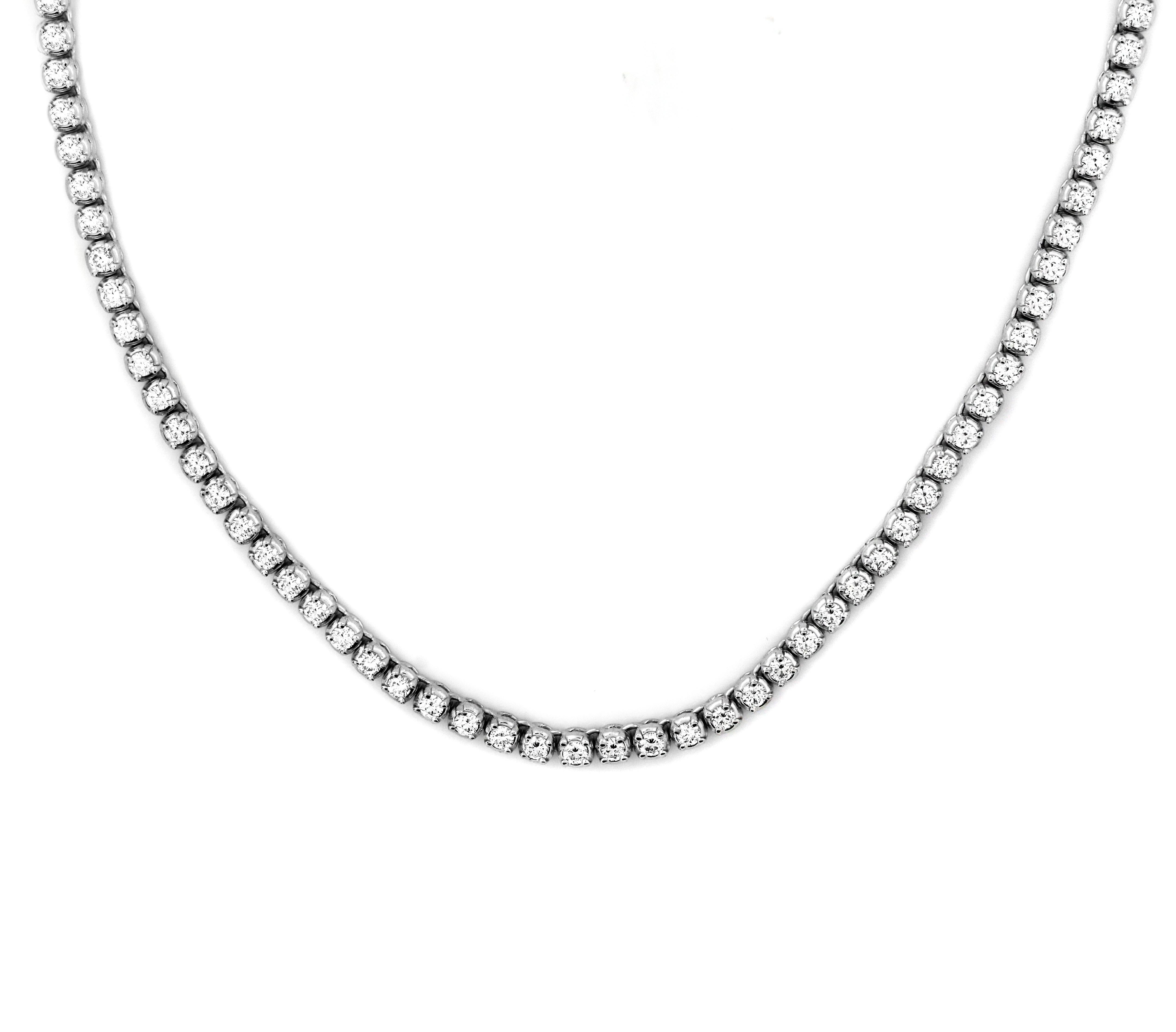 e8164b087dce36 Round Brilliant Diamond Tennis Necklace For Sale at 1stdibs