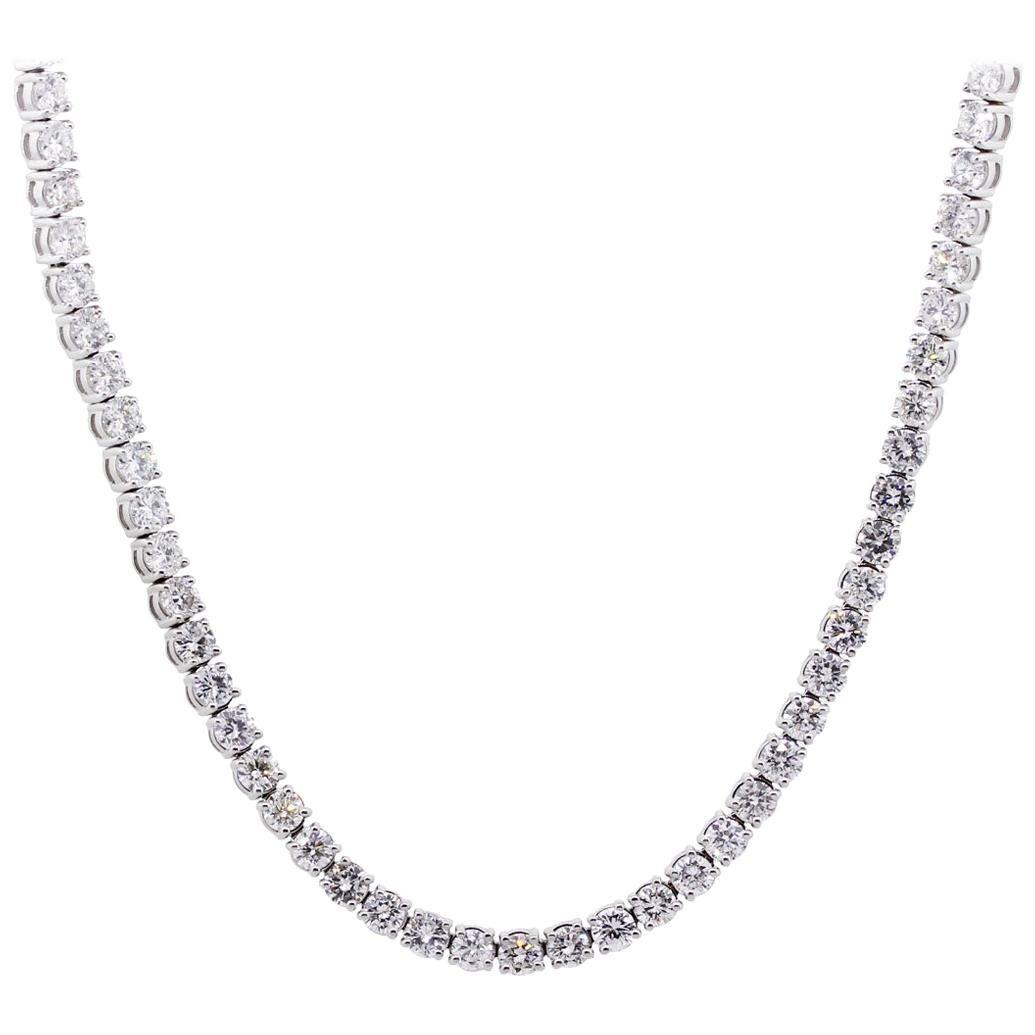 Round Brilliant Diamond Tennis Necklace