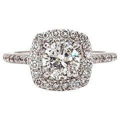 Round Brilliant Double Halo Diamond Ring 1.31 Carat 14 Karat White Gold