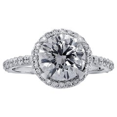 Round Brilliant Halo Diamond Engagement Ring GIA Certified