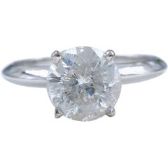 Round Brilliant Solitaire Diamond 1.76 Carat Engagement Ring in 14 Karat Gold