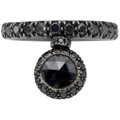 Round, Briolé Cut Black Diamond Ring from d'Avossa Starry Night Collection