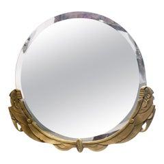 Round Bronze French Art Deco Figural Women Mirror