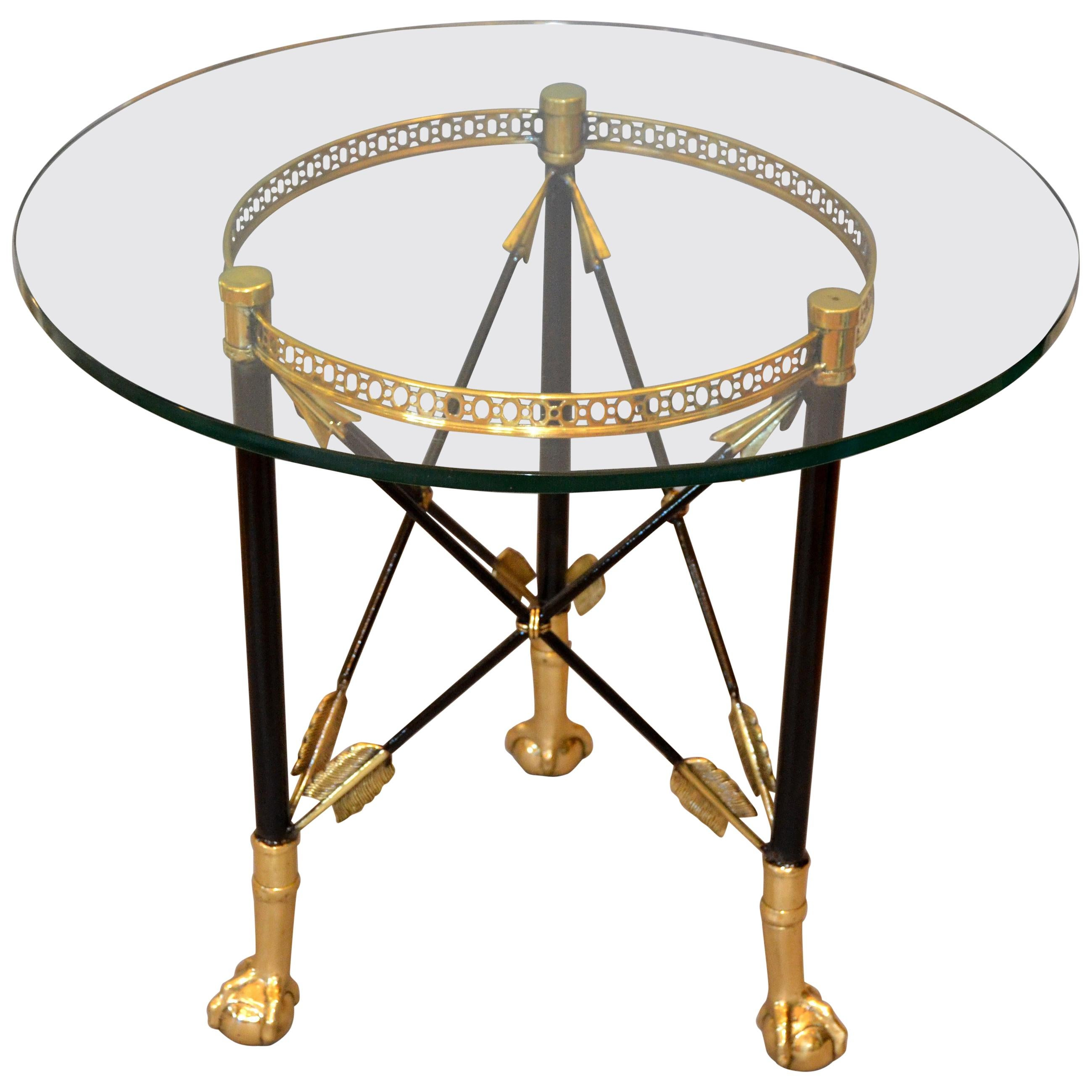 Round Bronze Glass Side Table Ball and Claw Feet