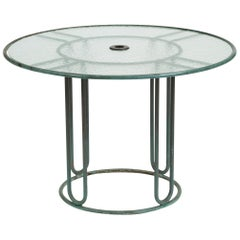 Walter Lamb for Brown Jordan Round Bronze Patio Umbrella Dining Table