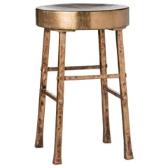 Round Bronze Stool with Forged and Hammered Bronze Legs