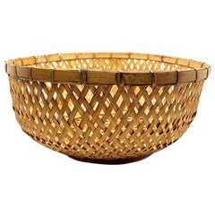 Round Brown Woven Wicker or Rattan Bamboo Fruit or Bread Basket