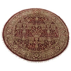 Round Burgundy Art & Craft Style Rug