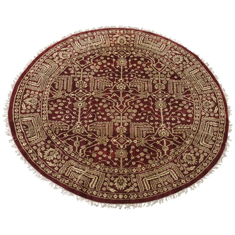 Round Burgundy Art And Craft Style Rug For Sale At 1stdibs