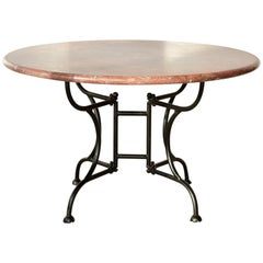 Round Burgundy Marble Table with Cast Iron Legs