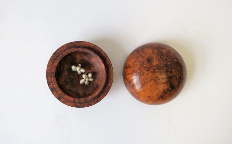 Polished Round Burl Trinket or Jewelry Box For Sale