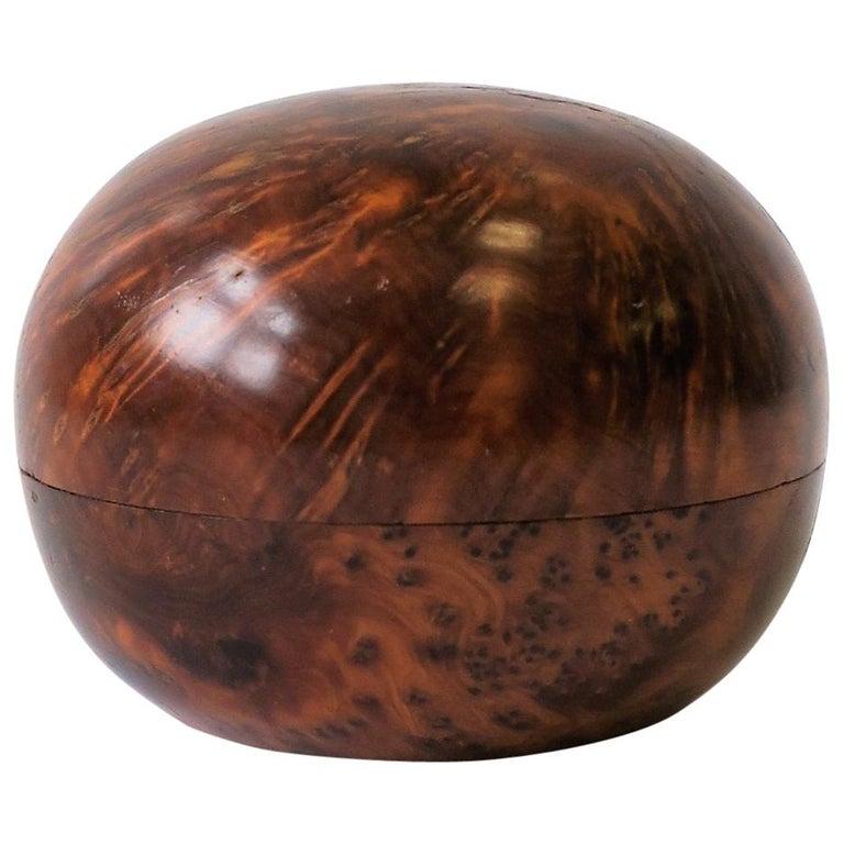 Round Burl Trinket or Jewelry Box For Sale