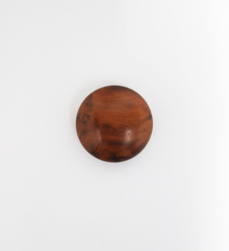 Minimalist Round Burl Wood Trinket or Jewelry Box For Sale
