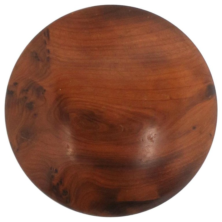 Round Burl Wood Trinket or Jewelry Box For Sale
