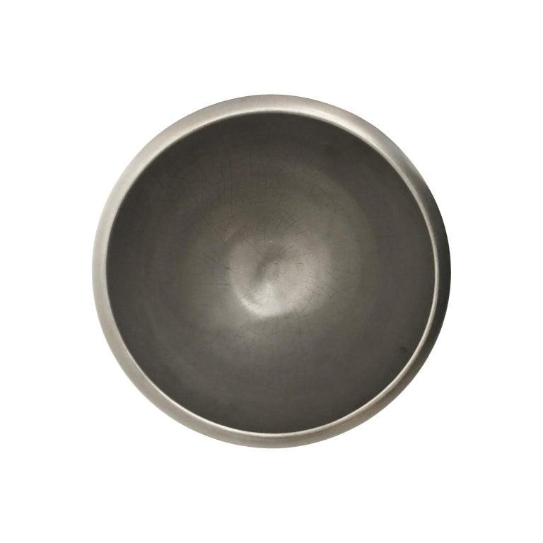 North American Round Burnished Platinum Lustre Ceramic Bowl by Sandi Fellman For Sale